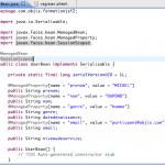 initialisation des propriétés de UserBean