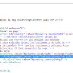 utilisation du tag valueChangeListner